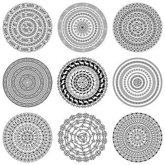 Monochromatische etnische ronde texturen