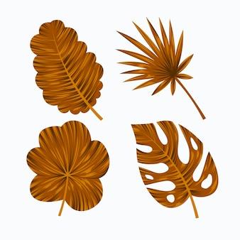 Monochromatische tropische bladeren instellen