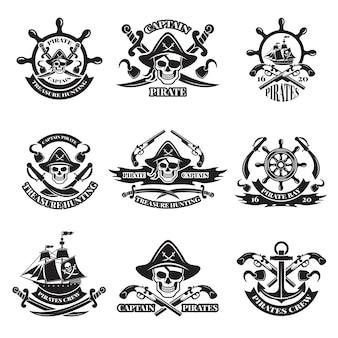Monochrome afbeeldingen van piratenetiketten.