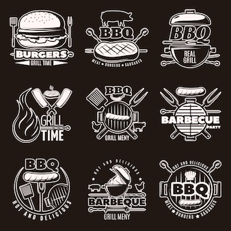 Monochrome barbecue emblemen set