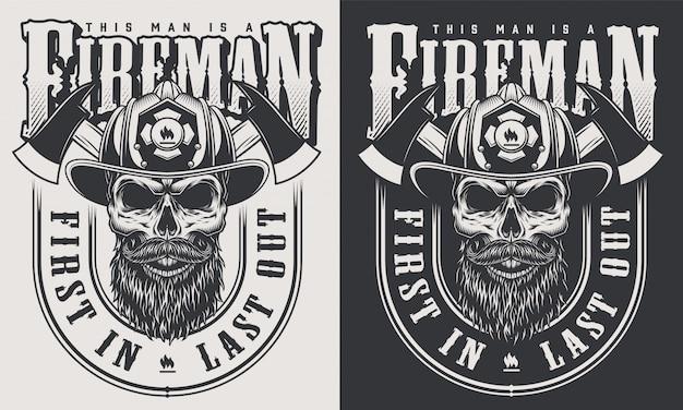 Monochrome brandweerman prints sjabloon met inscripties schedel in brandweerman helm in vintage stijl illustratie