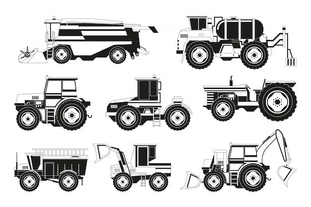 Monochrome foto's van landbouwmachines