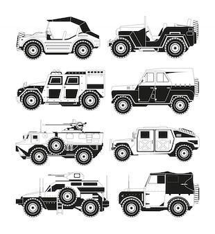 Monochrome foto's van militaire voertuigen. illustraties van het leger