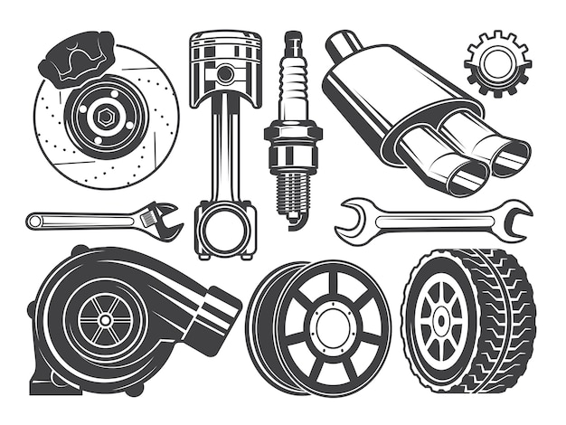 Monochrome foto's van motor, turbocompressor en andere auto-gereedschappen