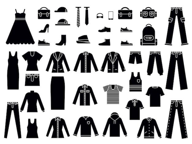 Monochrome illustraties van kleding voor mannen en vrouwen.