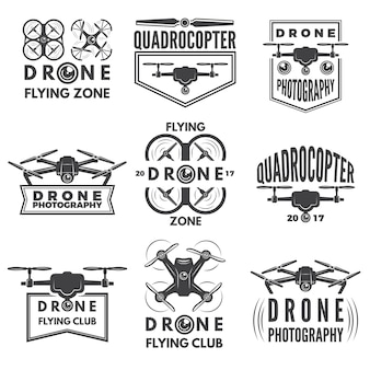 Monochrome labels met verschillende quadrocopters