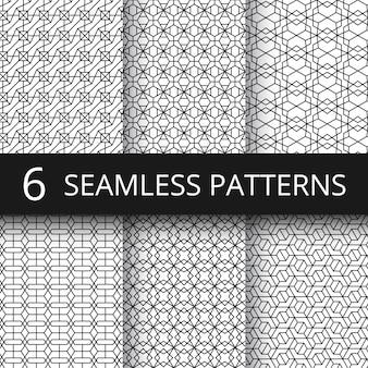Monochrome lijn geometrische vector naadloze patronen. delicate, eenvoudige achtergrondherhalingstextuurset