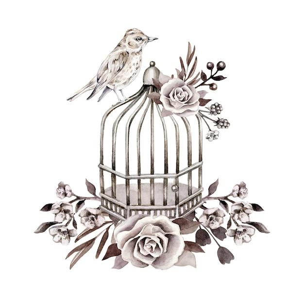 Monochrome retro compositie met vogel, kooi, bloemen