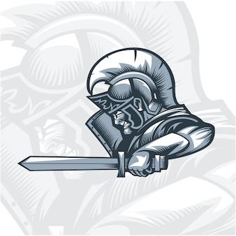 Monochrome romeinen knight aanvallende