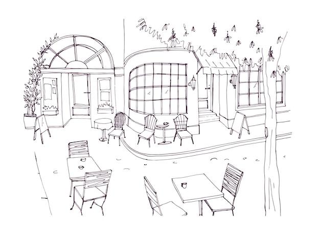 Monochrome ruwe schets van europees buiten- of terrasje, restaurant of koffiehuis