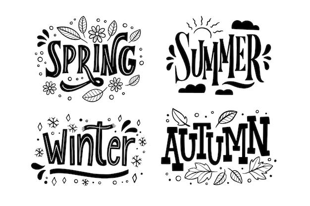 Monochrome seizoenen belettering collectie