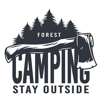 Monochrome silhouetbijl voor kamperen en houthakker
