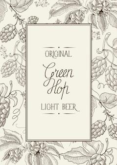 Monochrome vierkante kadersamenstelling met woorden over originele groene hop lichte pils in het midden van kaarthand getrokken schets