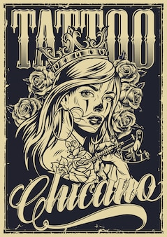 Monochrome vintage chicano tattoo poster