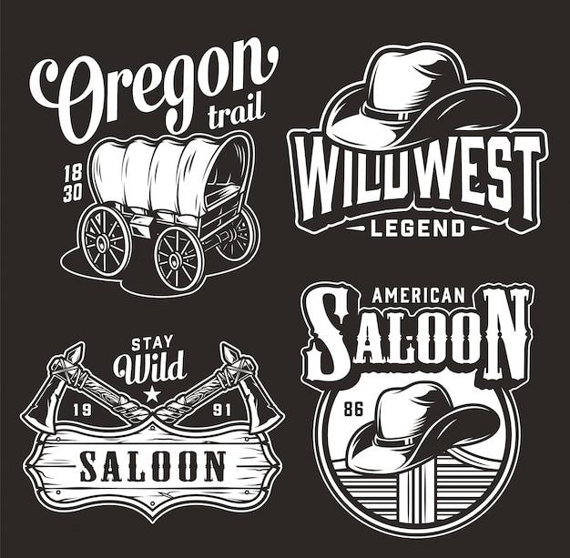 Monochrome wilde westen vintage badges