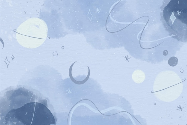 Monochroom aquarel planeten behang