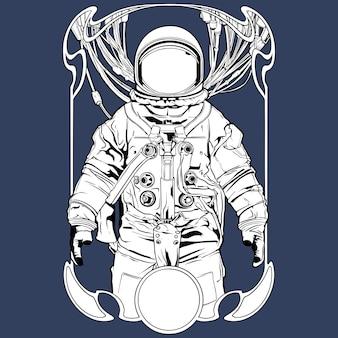 Monochroom astronaut tattoo illustratie vector