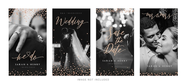 Monochroom bewaar de datum bruiloft instagram verhalen sjabloon