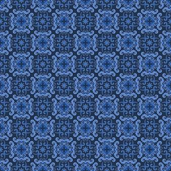 Monochroom blauw ornament naadloos patroon.