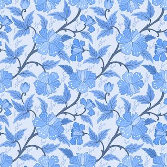 Monochroom blauwe bloemen en bladeren naadloze patroon t