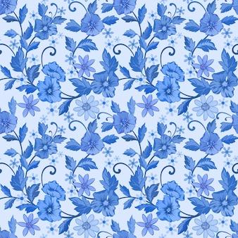 Monochroom blauwe bloemen en bladeren naadloze patroon wallpaper achtergrond.
