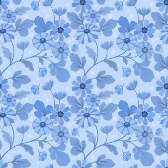 Monochroom blauwe bloemen en bladeren naadloze patroon