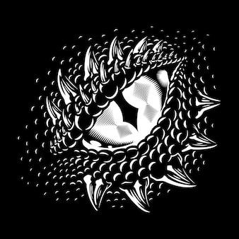 Monochroom drakenoog