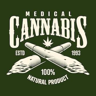 Monochroom embleem met cannabis