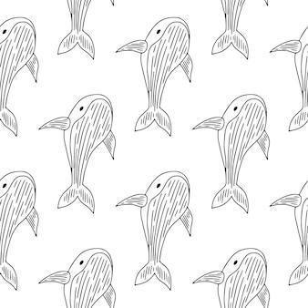 Monochroom en elegant naadloos patroon met walvissen.