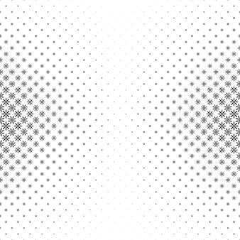 Monochroom geometrisch gestileerde bloempatroon - vector achtergrond illustratie van gebogen vormen
