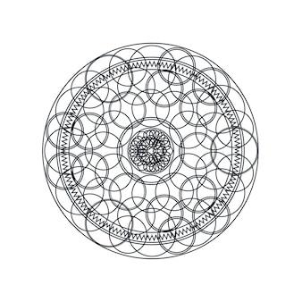 Monochroom geometrische mandala dunne lijn vectorillustratie. decoratief ornament op wit wordt geïsoleerd