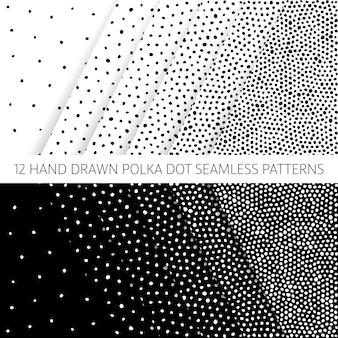 Monochroom handgetekende polka dot naadloze patroon set met grunge textuur effect vector design