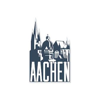 Monochroom kenteken, pictogram van de stad aken op witte achtergrond.