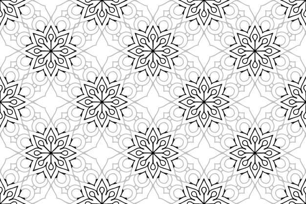 Monochroom mandala naadloos patroon