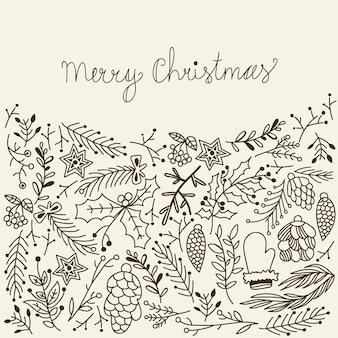 Monochroom merry christmas card traditionele elementen op grijs