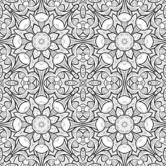 Monochroom naadloos patroon met abstract bloemenornament