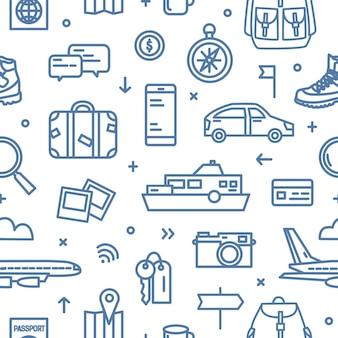 Monochroom naadloos patroon met attributen van transport, toerisme en avontuurlijke reizen getekend met blauwe contourlijnen