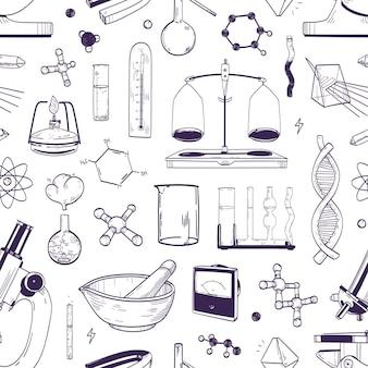 Monochroom naadloos patroon met chemische en fysieke laboratoriumapparatuur hand getekend met contourlijnen op witte achtergrond. achtergrond met hulpmiddelen voor wetenschappelijk experiment. realistische vectorillustratie.
