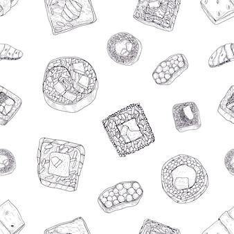 Monochroom naadloos patroon met maki en nigiri sushi, sashimi, broodjes hand getekend met contourlijnen