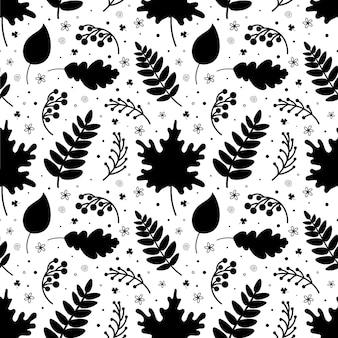 Monochroom naadloos patroon van bladeren, takjes en bessen