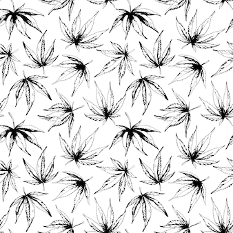Monochroom naadloos patroon van hennepbladeren vectorillustratie
