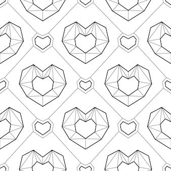 Monochroom naadloze patroon geometrische lijn harten