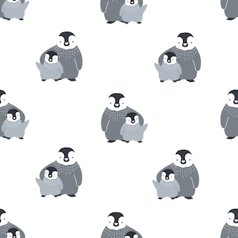 Monochroom naadloze patroon met schattige paar omhelzende moeder en baby pinguïns.