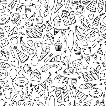 Monochroom naadloze patroon met verjaardag doodles