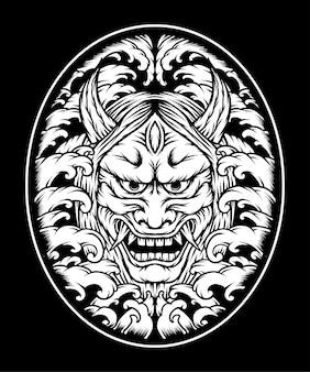 Monochroom oni masker illustratie. premium vector