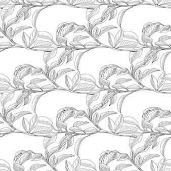 Monochroom retro blad naadloze achtergrond. tropisch behang.