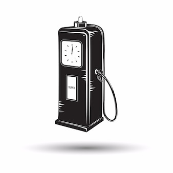 Monochroom retro tankstation pictogram