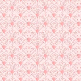 Monochroom roze art deco naadloos patroon