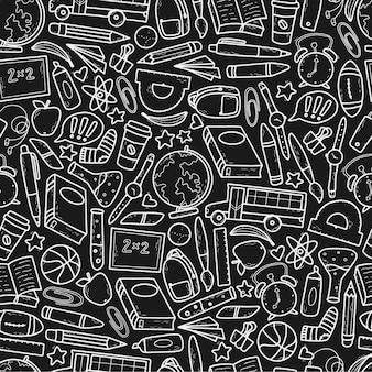 Monochroom school naadloos patroon met doodles