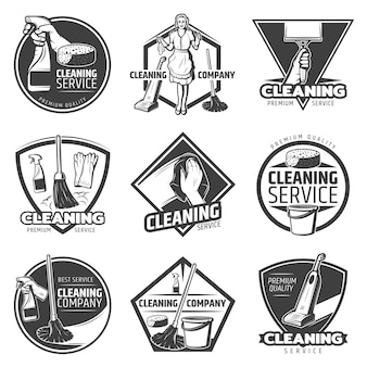 Monochroom schoonmaak service-logo